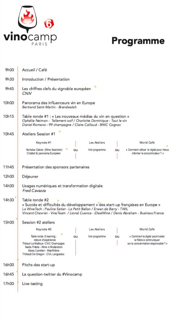 Programme Vinocamp 2